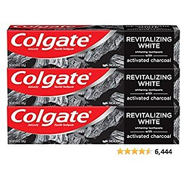Colgate Activated Charcoal Toothpaste for Whitening Teeth with Fluoride, Natural Mint Flavor, Vegan - 4.6 Ounce (3 Pack)