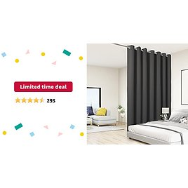 Limited-time Deal: BONZER Room Divider Curtain Total Privacy Wall Grommet Thermal Insulated Soundproof Extra Wide Blackout Curtains for Bedroom Living Room, 9ft Wide X 7ft Tall, 1 Panel, Dark Grey