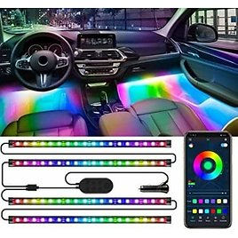 4Pcs 72 LED Music Sync Car Led Strip Lights with App and Control Box from AmaZon.