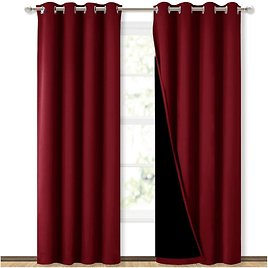 NICETOWN 100% Blackout Curtains with Black Liner Backing for $41.60
