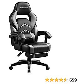 Gaming Chair with Footrest,Computer Chair Lumbar Support Ergonomic Office Chair, Gaming Chair 360°-Swivel for Office or Gaming Gray