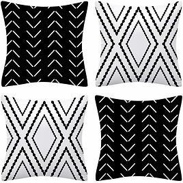 Set of 4 Black and White Geometric Pillow Covers from Amazon.