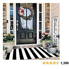 Black and White Striped Rug Outdoor 3'x 5', Cotton Hand-Woven Striped Door Mat, Reversible Foldable Washable Outdoor Rug Stripe for Layered Door Mats Porch/Front Door (35.4''x59'')