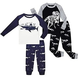 60% Off 4 Pieces Kid Pajamas for Boy and Girls 100% Cotton