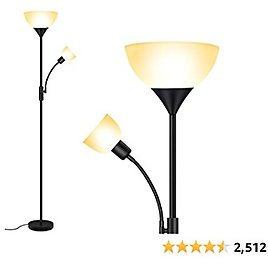 Floor Lamp, Standing Lamp, 9W LED Torchiere Floor Lamp with 4W Adjustable Reading Lamp, 3000K Energy-Saving LED Bulbs from Amaz.