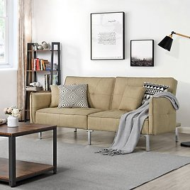 Alden Design Fabric Covered Futon Sofa Bed with Backrest