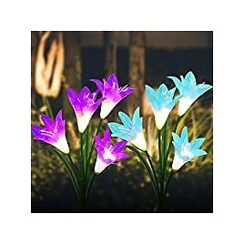 2-Pack BASIWEI Solar Powered Waterproof Color Changing Garden Fairy Lights with 8 Lily Flower 2-Pack Solar Color Changing Garde
