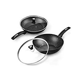 CSK 11''+12'' Nonstick Frying Pan Sets With Glass Lids for $32.99
