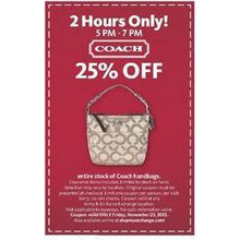 Entire Stock of Coach Handbags (5pm to 7pm) 25% off