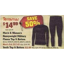 Terramar Men's & Women's Military Fleece Top & Bottom