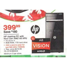 HP Desktop PC w/ AMD A8 APU, 8GB RAM, 1TB HDD (P6-2378)