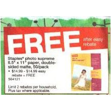 Staples Photo Supreme 8.5'' x 11'' Paper, Double-Sided Matte, 50-pk.