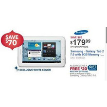 "Samsung Galaxy Tab 2 7"" w/ 8GB Memory & $20 Best Buy Gift Card"