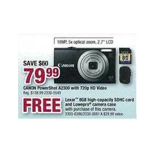 Canon PowerShot A2300, 720p HD Video w/ FREE Lexar 8GB high-capacity SDHC card & Lowepro camera case