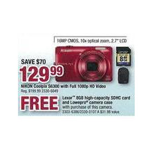 Nikon Coolpix S6300, Full 1080p HD Video w/ Lexar 8GB high-capacity SDHC card and Lowepro camera case
