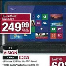 "Toshiba Satellite 15.6"" Laptop Featuring AMD E-300 Accelerated processor * Windows 8"