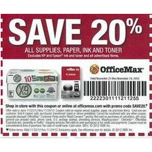 20% Off Supplies, Paper, Ink and Toner (ALL)