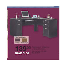 "Realspace Magellan Collection L-Shaped Desk, 30""H x 58 3/4""W x 18 3/4""D (Espresso)"