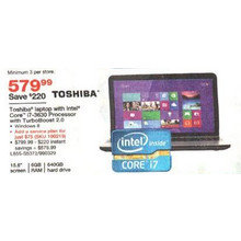 "Toshiba 15.6"" Laptop w/ i7-3630 6GB RAM 640GB HD"
