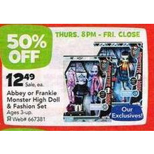Abbey or Frankie Monster High Doll & Fashion Set