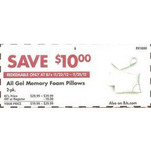 $10 Off Entire Stock of Gel Memory Foam Pillows, 2-Pack