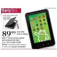 "Zeki 7"" Touch Screen Tablet with Android OS"