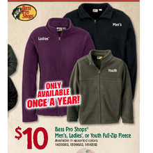 Bass Pro Shops Youth Full-Zip Fleece (Assorted colors)