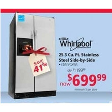 Whirlpool 25.3 cu. ft. Stainless Steel Side-by-Side (earlybird)