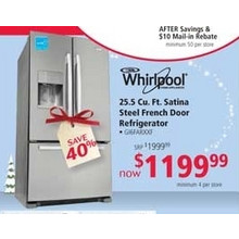 Whirlpool 25.5 cu. ft. Satina Steel French Door Refrigerator (earlybird)