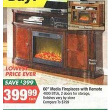 Media Fireplaces with Remote (Thanksgiving)