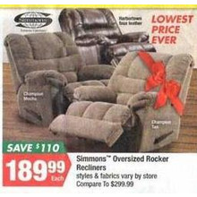 Simmons Oversized Rocker Recliners (Thanksgiving)