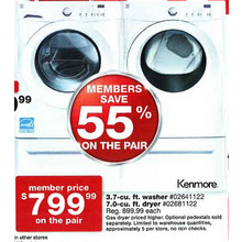 Kenmore 3.7-cu. Ft. Washer & 7-cu. ft. Dryer