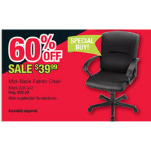 Mid Black Fabric Office Chair
