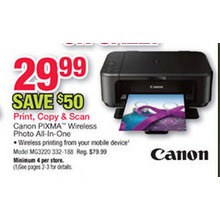Canon PIXMA™ MG3520 Wireless Inkjet Photo All-In-One Printer, Black
