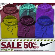 50 % Off Nike Mens Solid Performance Fleece (Assorted Colors)