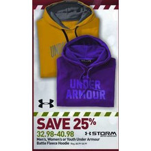 25 % Off Under Armor Mens Battle Fleece Hoodie (Assorted Colors)