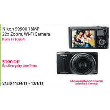 Nikon S9500 18MP 22x Zoom Wi-Fi Camera - $100 OFF