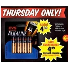 CVS 4-pk. AA Alkaline Batteries