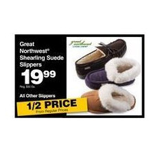 Great Northwest Mens Shearling Suede Slippers