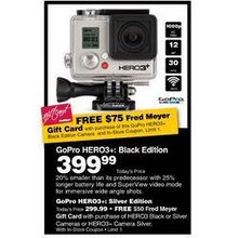 GoPro Hero3+ Black Edition Action Camera w/ Fred Meyer $75 Gift Card