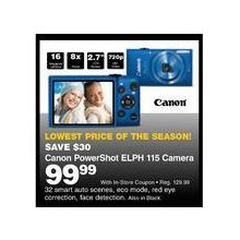 "Canon PowerShot ELPH 115 16MP Digital Camera w/ 8x Zoom, 2.7"" LCD Screen"