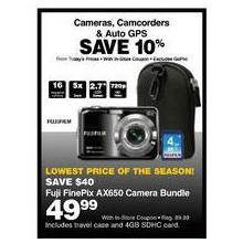 Fuji FinePix AX650 16MP Digital Camera Bundle, w/5x Zoom, 2.7 LCD Screen + Travel Case & 4GB SDHC Card