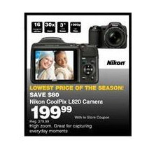 "Nikon CoolPix L820 16MP Digital Camera w/ 30x Zoom, 3"" LCD Screen"