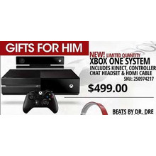Xbox One System includes Kinect, Controller, Chat Headset & HDMI Cable