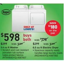 Roper 3.4 cu ft Washer & 6.5 cu ft Electric Dryer