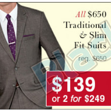 Traditional & Slim Fit Suits