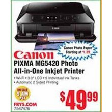 Canon PIXMA MG5420 Photo All-in-One Inkjet Printer (6225B002AA)