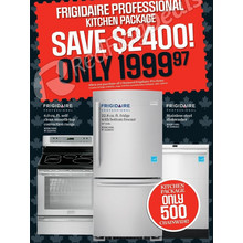 Frigidaire Professional Kitchen Package w/ 6.0-cu. ft. Convection Range, 22.8 cu-ft Fridge w/ Bottom Freezer and Stainless Steel