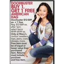Buy 1 American Rag Juniors' Sweater, Dress, Jean, Top or Coat and Get 1 Free of Equal or Lesser Value Than Purchased Item