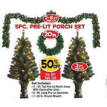 5 Pc. Pre-Lit Porch Set